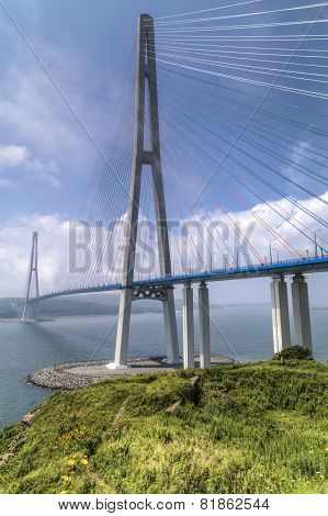 Russkiy Bridge at Vladivostok Russia