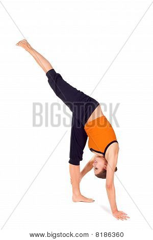 Woman Practicing Standing Split Yoga Exercise