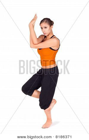 Woman Practicing Eagle Pose Yoga Exercise