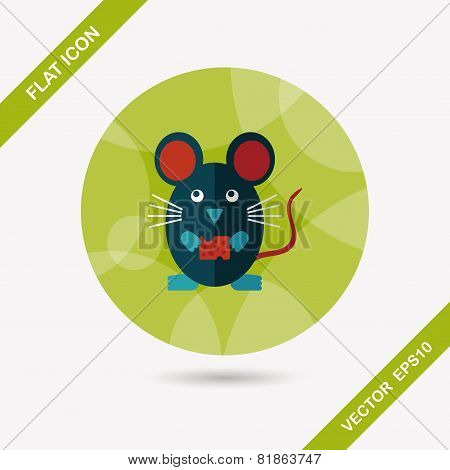 Pet Mouse Cage Flat Icon With Long Shadow,eps10