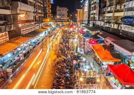 Warorot Market And Long Exposure Night Life