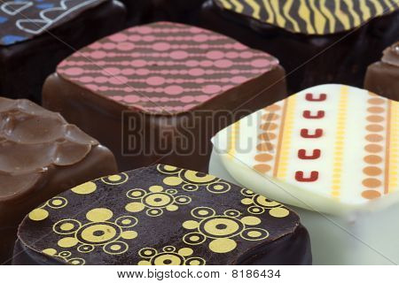 assorted decorated luxury chocolate bonbons