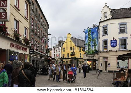 Evening street in the center of Galway