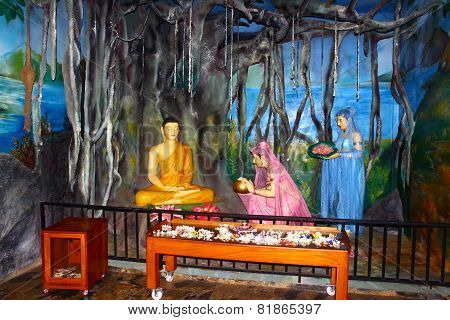 Buddhist staged in the Temple of Vishnu Devinuwara