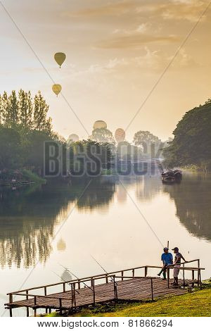 Fisherman And Balloon Background.