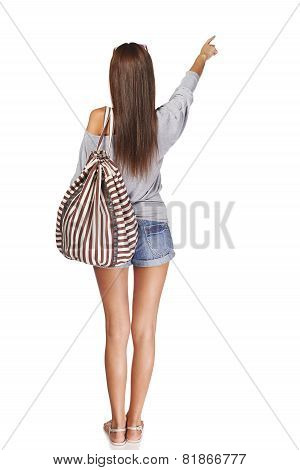 Back view girl with backpack