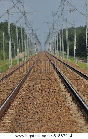 The Railway Line. Electric Traction. Tracks For Trains