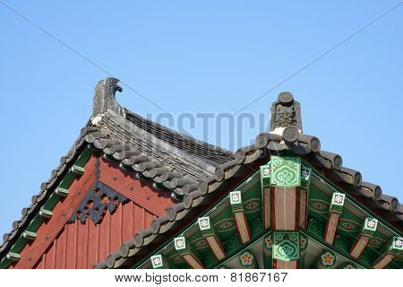 Gyeongju, Korea - October 18, 2014: Chimi, Decorative Roof End Tile