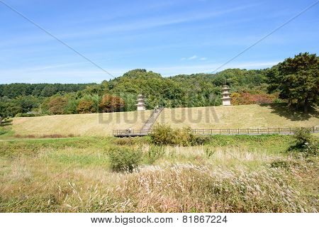 Gyeongju, Korea - October 19, 2014: Whole View Of Gameunsa Site