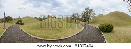 Gyeongju, Korea - October 20, 2014: Daereungwon Ancient Tombs