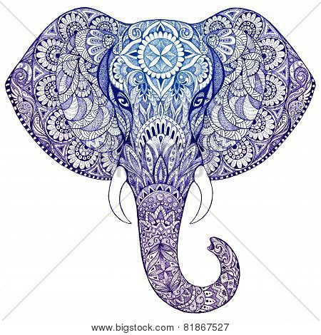 Tattoo Elephant With Patterns And Ornaments