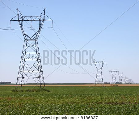Large Line of Power Pylons