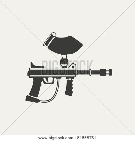 illustration of paintball gun. Black and white style