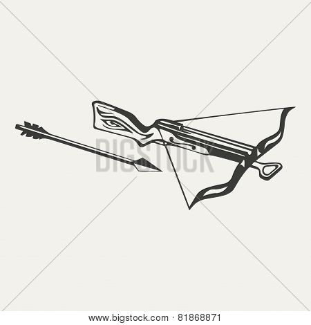illustration of crossbow. Black and white style