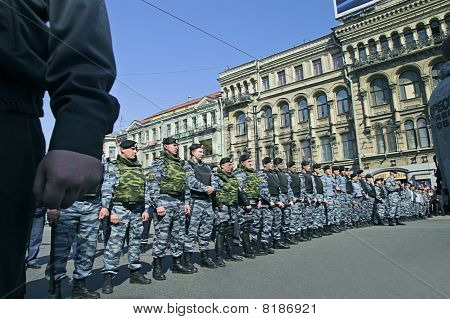 Police Officers Lined