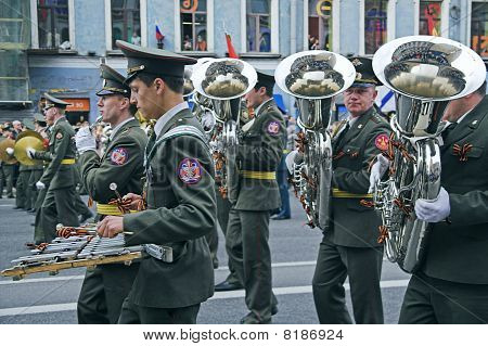 Military Orchestra Musicians Parading