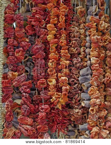 dried vegetables at the central market