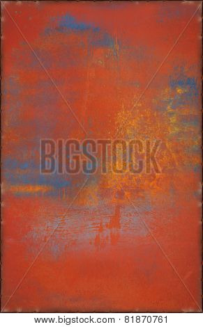 Old Multicolored Metal Background With Rusty Seams Along Edges