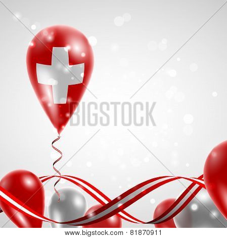 Swiss flag on balloon