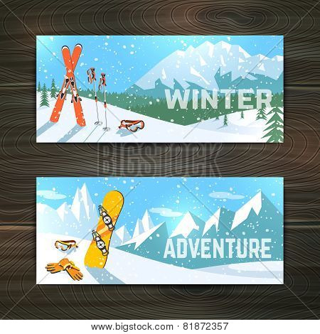 Winter sport tourism banners set