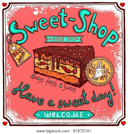 Sweetshop vintage candy poster