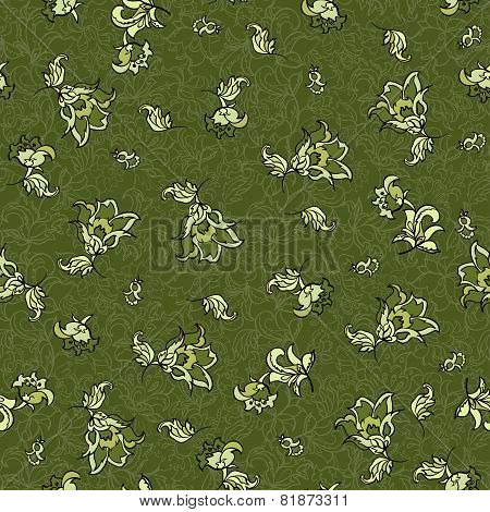 textile flowers seamless pattern