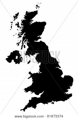 Map of UK in black