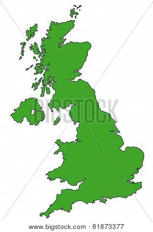 Map of UK in green