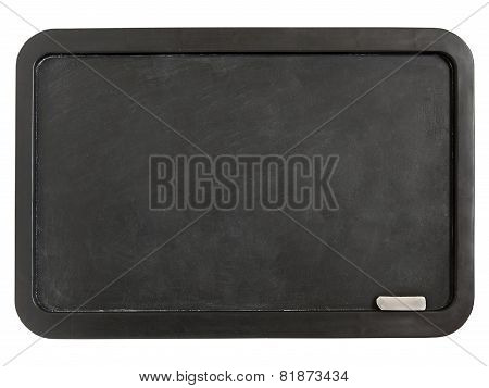 Black Plastic Whiteboard With Chalk Isolated On A White Backgrou