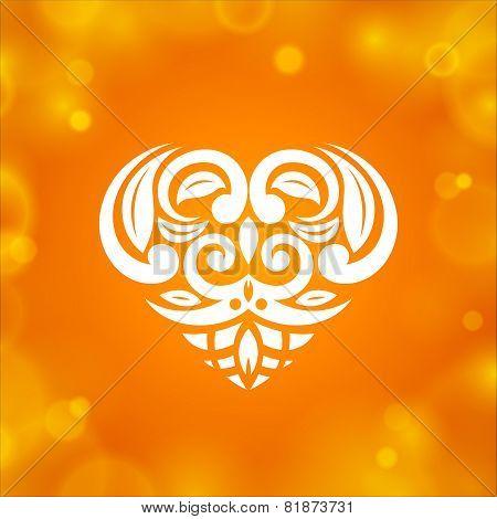 Heart On Orange Background