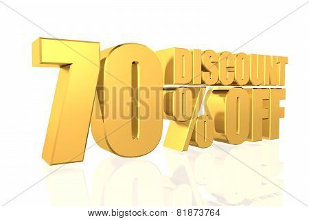 Discount 70 Percent Off. 3D Illustration.