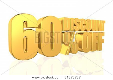 Discount 60 Percent Off. 3D Illustration.