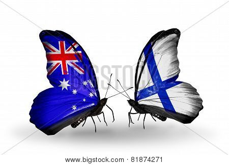 Two Butterflies With Flags On Wings As Symbol Of Relations Australia And Finland