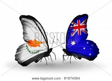 Two Butterflies With Flags On Wings As Symbol Of Relations Cyprus And Australia