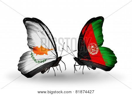 Two Butterflies With Flags On Wings As Symbol Of Relations Cyprus And Afghanistan
