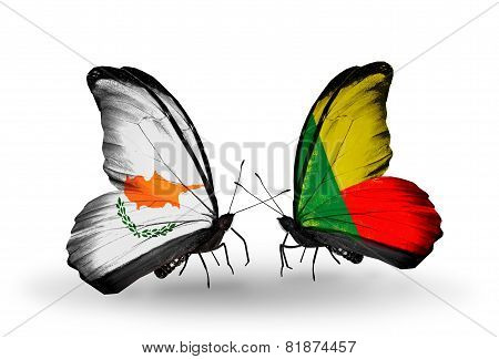 Two Butterflies With Flags On Wings As Symbol Of Relations Cyprus And Benin