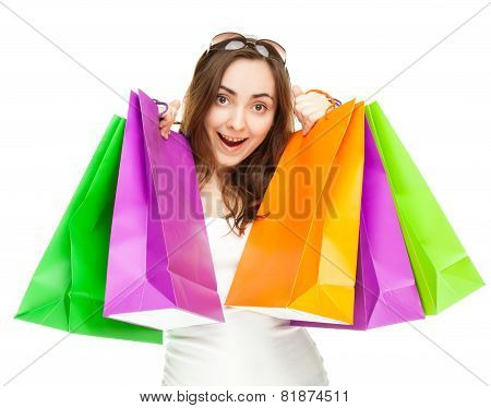 Picture Of A Beautiful Woman With Shopping Bags