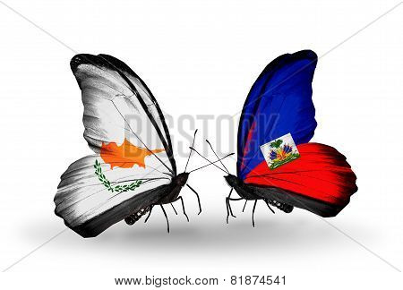 Two Butterflies With Flags On Wings As Symbol Of Relations Cyprus And Haiti