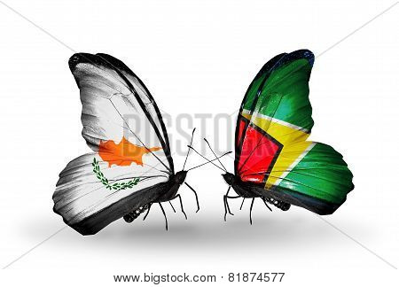 Two Butterflies With Flags On Wings As Symbol Of Relations Cyprus And Guyana