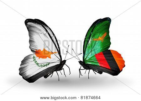 Two Butterflies With Flags On Wings As Symbol Of Relations Cyprus And Zambia
