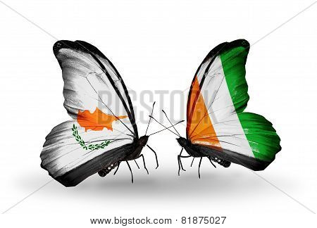 Two Butterflies With Flags On Wings As Symbol Of Relations Cyprus And Cote Divoire