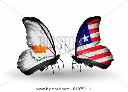 Two Butterflies With Flags On Wings As Symbol Of Relations Cyprus And Liberia