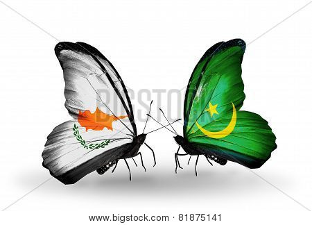 Two Butterflies With Flags On Wings As Symbol Of Relations Cyprus And Mauritania