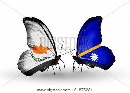 Two Butterflies With Flags On Wings As Symbol Of Relations Cyprus And Nauru