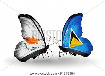 Two Butterflies With Flags On Wings As Symbol Of Relations Cyprus And Saint Lucia