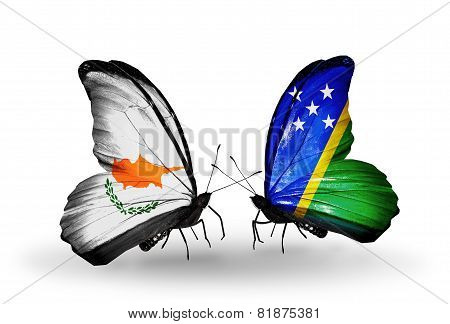 Two Butterflies With Flags On Wings As Symbol Of Relations Cyprus And Solomon Islands