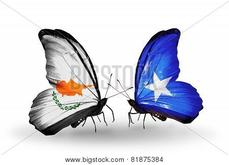 Two Butterflies With Flags On Wings As Symbol Of Relations Cyprus And Somalia