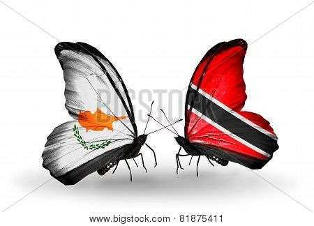 Two Butterflies With Flags On Wings As Symbol Of Relations Cyprus And Trinidad And Tobago