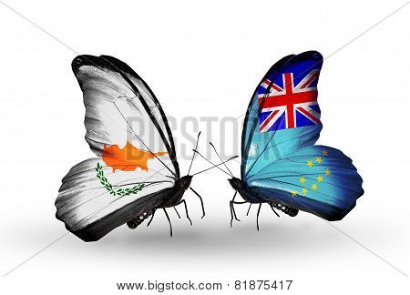 Two Butterflies With Flags On Wings As Symbol Of Relations Cyprus And Tuvalu