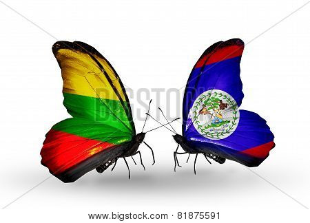 Two Butterflies With Flags On Wings As Symbol Of Relations Lithuania And Belize